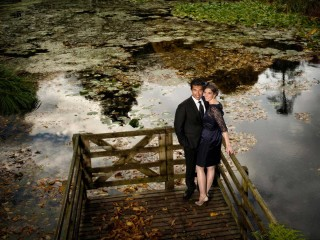 Happy couple on the pier at Glenapp Castle wedding