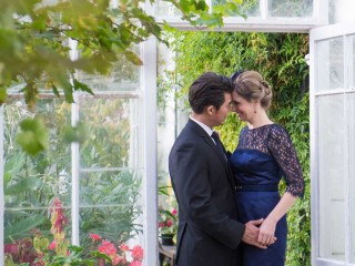Bride and groom in the greenhouse at Glenapp Castle