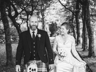 Eloping bride and groom at Glenapp Castle