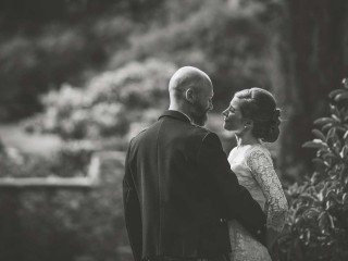 Black and white image of bride and groom at Glenapp Castle, Scotland