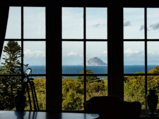 Views of Ailsa Craig from Glenapp Castle drawing room